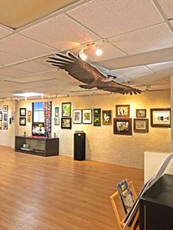 BIRDS EVERYWHERE From the walls to the ceiling, bird-themed art is in abundance at Art Center Morro Bay. - PHOTOS BY MALEA MARTIN