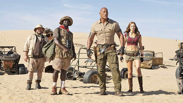TO THE RESCUE Jack Black, Kevin Hart, Dwayne Johnson, and Karen Gillan (left to right) star in Jumanji: The Next Level. - PHOTO COURTESY OF SONY PICTURES