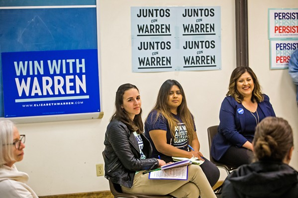 VOTER ENGAGEMENT Alexandria Wilcox (left) and Maria Martinez (middle)— staffers for Sen. Elizabeth Warren's (D-Massachusetts) presidential campaign—join Goleta Unified School Board Trustee Luz Reyes-Martin (right) in hosting a Latinx voter engagement forum in Santa Maria on Feb. 20. - PHOTOS BY JAYSON MELLOM
