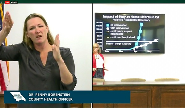 INTERPRETING Robin Babb, an American Sign Language interpreter, translates SLO County Public Health Officer Penny Borenstein during a recent COVID-19 press conference. - SCREENSHOT COURTESY OF SLO COUNTY PUBLIC HEALTH