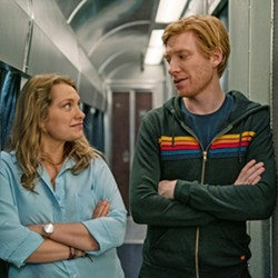 """ROAD TRIP Ruby (Merritt Wever) and Billy (Domhnall Gleeson) go on an impromptu adventure based on a pact they made years earlier in college to drop everything and run away with each other if one or the other texted """"RUN,"""" in HBO's limited series Run. - PHOTO COURTESY OF ENTERTAINMENT ONE"""