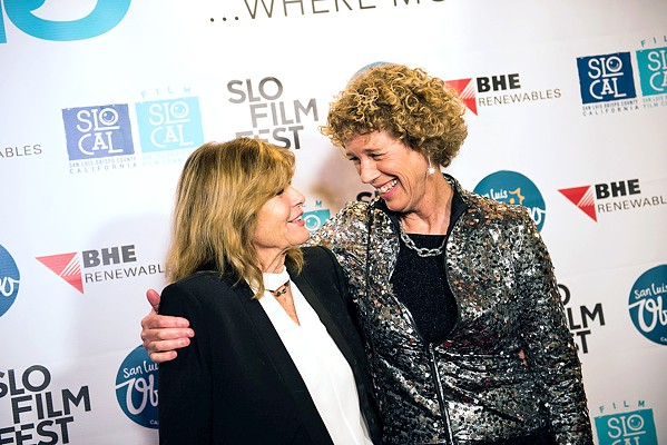 HERE'S TO YOU Actor Katharine Ross (The Graduate), left, shares a hug and a Kodak moment at the 2019 festival with SLO Film Fest Director Wendy Eidson. The 2020 festival moved some of its features online after the coronavirus forced such events to be canceled or shift to virtual platforms. - PHOTOS COURTESY OF THE SAN LUIS OBISPO INTERNATIONAL FILM FESTIVAL