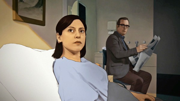 MENTALLY ILL MAGIC REALISM After a near-fatal car accident, Alma Winograd-Diaz (Rosa Salazar) awakes from a coma to discover she can see her dead father, Jacob Winograd (Bob Odenkirk), who's come to help her control her new power over time and space, in Undone. - PHOTO COURTESY OF AMAZON STUDIOS