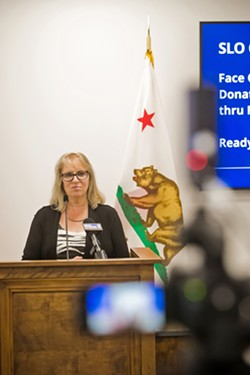 READY SLO County Public Health Officer Penny Borenstein addresses the media at a recent press briefing. - FILE PHOTO BY JAYSON MELLOM