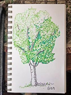 """WEEKLY ACTIVITIES Every Monday, the San Luis Obispo Museum of Arts is posting a weekly activity on its website, last week's being """"Draw What You See,"""" with guidance on how to draw a tree, which intrepid reporter Glen Starkey attempted to do lefthanded. - PHOTO BY GLEN STARKEY"""