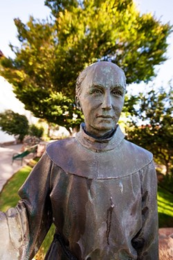 MOVED Local faith leaders removed the Junipero Serra statue from SLO's Mission Plaza on June 22 amid fears of vandalism. - FILE PHOTO BY KAORI FUNAHASHI