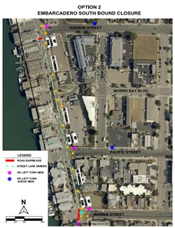 OPEN SPACE In an effort to spread visitors out and assist businesses, the city of Morro Bay will be closing the southbound lane of the Embarcadero. - IMAGE COURTESY OF THE CITY OF MORRO BAY
