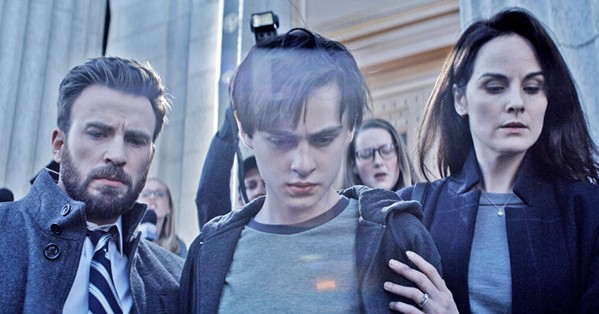 PARENTS' NIGHTMARE When Jacob (Jaeden Martell, center) is accused of murdering a classmate, his father, Andy (Chris Evans), and mother, Laurie (Michelle Dockery), do everything to prove his innocence, in Defending Jacob, available on Apple TV. - PHOTO COURTESY OF ANONYMOUS CONTENT