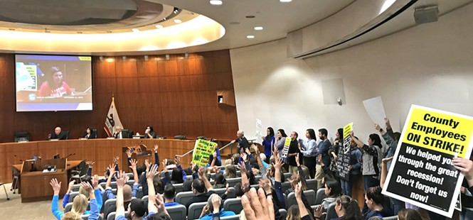 SLO County strikers demand better pay, flood supervisors meeting
