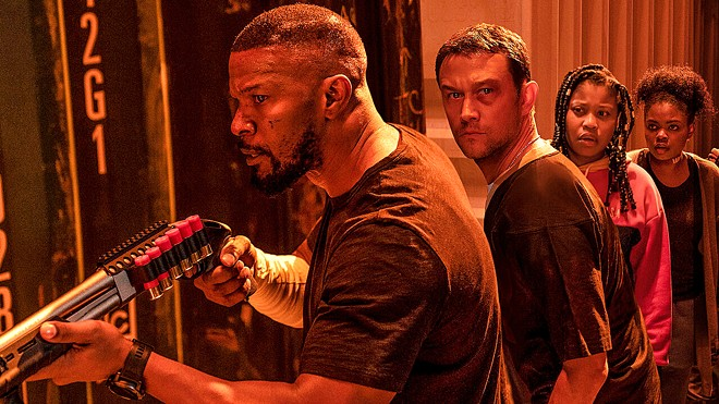 POWER UP (Left to right) Jamie Foxx, Joseph Gordon-Levitt, Dominique Fishback, and Kyanna Simpson star in the new Netflix sci-fi action film, Project Power.