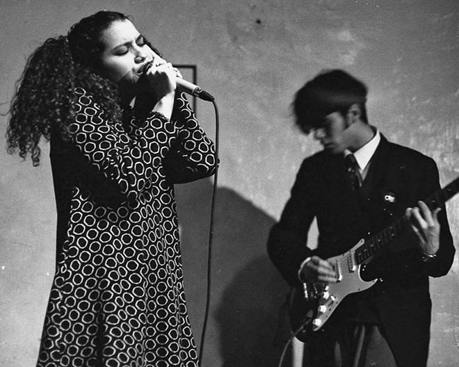 """BOCA DE SANDIA Photographer David Villarreal captured Nicole Presley singing with Boca De Sandia (""""Watermelon Mouth"""") at the Troy Café in Los Angeles in 1992."""