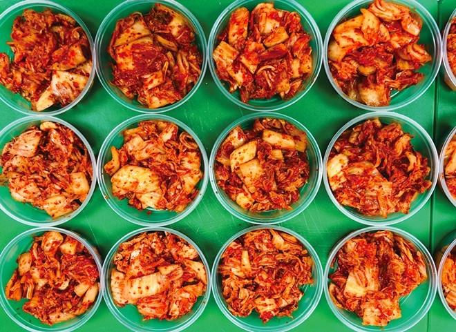 STARTING DISH Made fresh for every pop-up at Benny's Kitchen, Bap Jo's kimchi includes Napa cabbage, gochugaru flakes, garlic, salted shrimp, daikon radish, and green onion fermented at room temperature for three to four days until it's a perfect blend of briny, spicy, savory deliciousness.