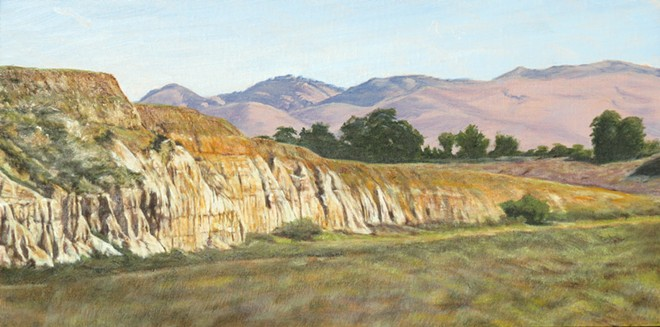 """Dennis Curry, """"River Walk,"""" Santa Maria Levee Trail , Oil on panel, Courtesy the Artist. Curry's work is among 38 artworks on view in 'Art from the Trail: Exploring the Natural Beauty of Santa Barbara County.'"""