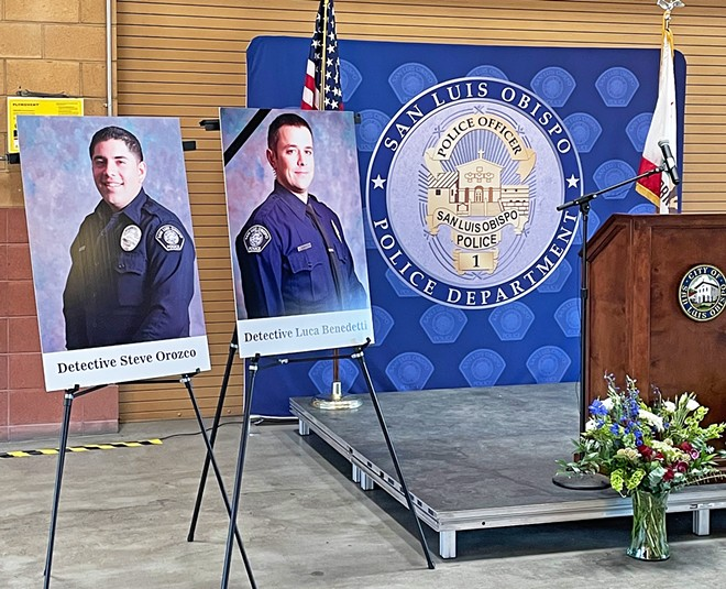 IN THE LINE OF DUTY SLO Police Detective Luca Benedetti (right), 37, was killed on May 10 in an officer-involved shooting. Detective Steve Orozco was injured, but is expected to make a full recovery.