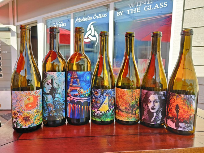VINEYARD, VARIETY, ART Absolution Cellars in Morro Bay offers up mostly single vineyard, single variety wines that feature artwork by Aja Trier.
