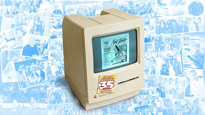 OLD SCHOOL The first New Times ever published came together with the help of this Mac from 1986, which still hangs around the office.