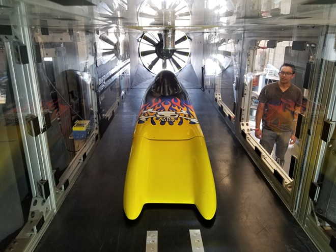 """Challenger Dynamic Testing: Student engineers wind-tunnel-testing """"The Challenger,"""" a record-breaking vehicle designed by legend Don Baumea."""