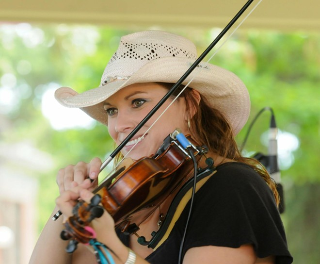 Julie Beaver, back yard concert with Ken Hustad & Dorian Michael 1-4