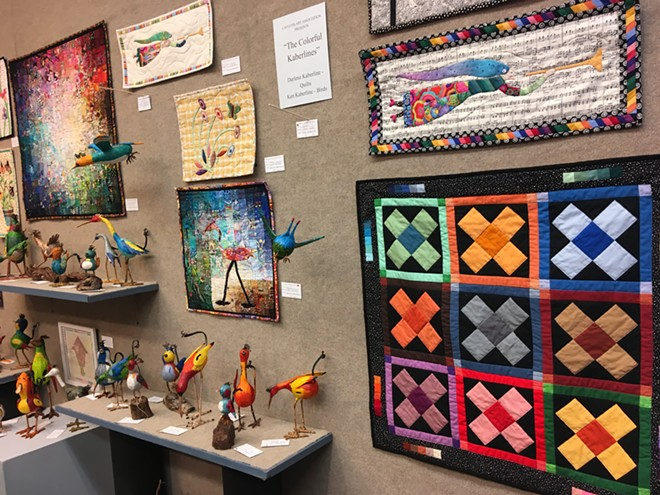 The Colorful Kabelines: quilts and paper mâché birds