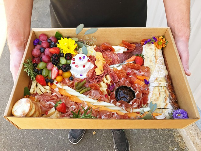 "HOLIDAY BOX Imagine walking into your next family get-together with one of these ""grazing tables."" Cured and Cultivated's food artist knows exactly how to pull it all together."