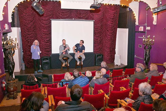 FULL HOUSE Attendees of the 2019 Cambria Film Festival enjoy a session with Michael Whalley (left), lead actor, and Tony Prescott, director, of The Pretend One, a film that won the Founders Award at last year's festival.