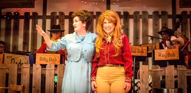 THE BEST OF FRIENDS Patsy Cline (Greta Kleckner, left) and Louise Seger (Suzy Newman) stand together onstage after solidifying their friendship.