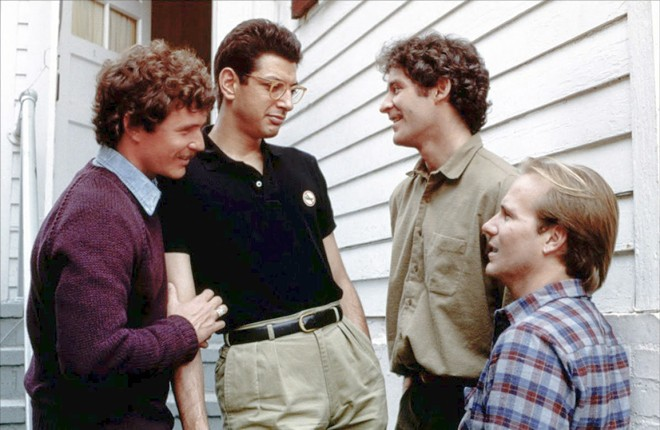 30-SOMETHINGS A group of former college friends—(left to right) Sam (Tom Berenger), Michael (Jeff Goldblum), Harold (Kevin Kline), and Nick (William Hurt)—gather after a funeral of another friend in the wonderful ensemble dramedy The Big Chill.