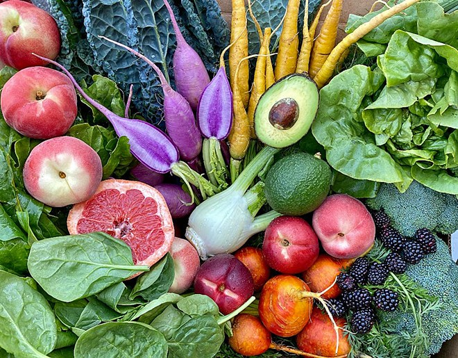 EAT YOUR HEART OUT When you order a harvest box from SLO Veg, you receive a colorfully curated box of fruits and vegetables from local farms and food purveyors.