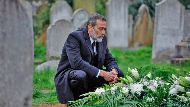 MOURNING FATHER NYC police detective Jacob Kanon (Jeffrey Dean Morgan) tracks a pair of serial killers butchering young married couples throughout Europe, in The Postcard Killings, a murder mystery screening on Hulu.