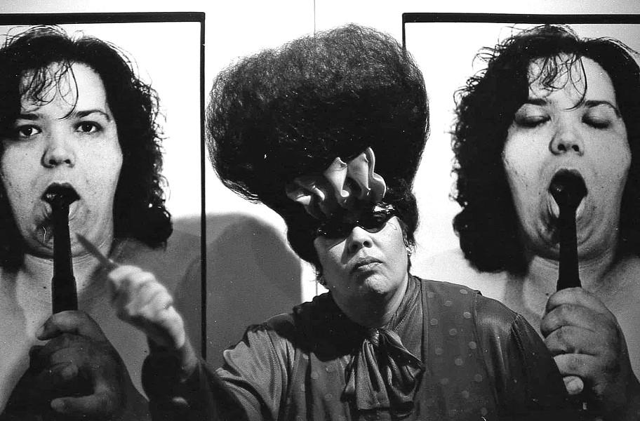 CHOLA CON CELLO, 1991 Villarreal photographed performance artist, musician, educator, and activist Chola Con Cello, María Elena Gaitán, in 1991. - PHOTOS COURTESY OF STUDIOS ON THE PARK