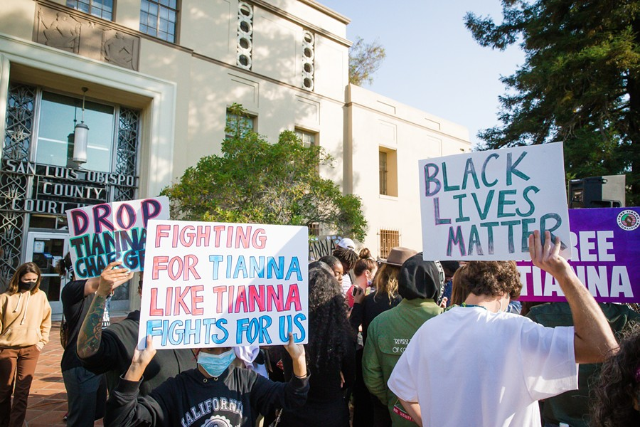 COURT PROCESS Supporters stood in solidarity outside the SLO County Courthouse for local activist and protest leader Tianna Arata's first virtual court hearing on Sept. 3, but were not present for her Sept. 17 hearing. - FILE PHOTO BY JAYSON MELLOM