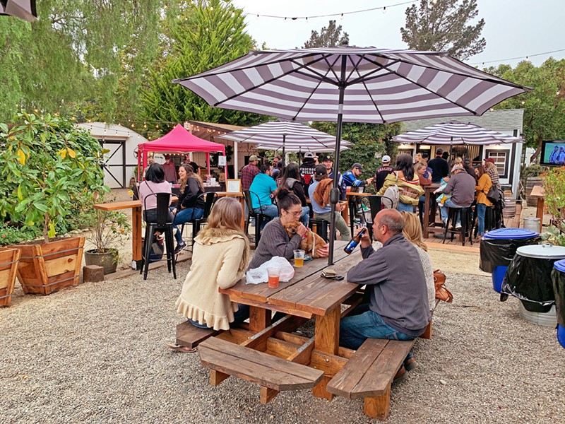 ROOM TO BREATHE With ample outdoor seating, spaced out for your social-distancing pleasure, Nipomo's Birchwood Beer Garden has plenty of space for your crew to eat and drink. - PHOTOS BY CAMILLIA LANHAM