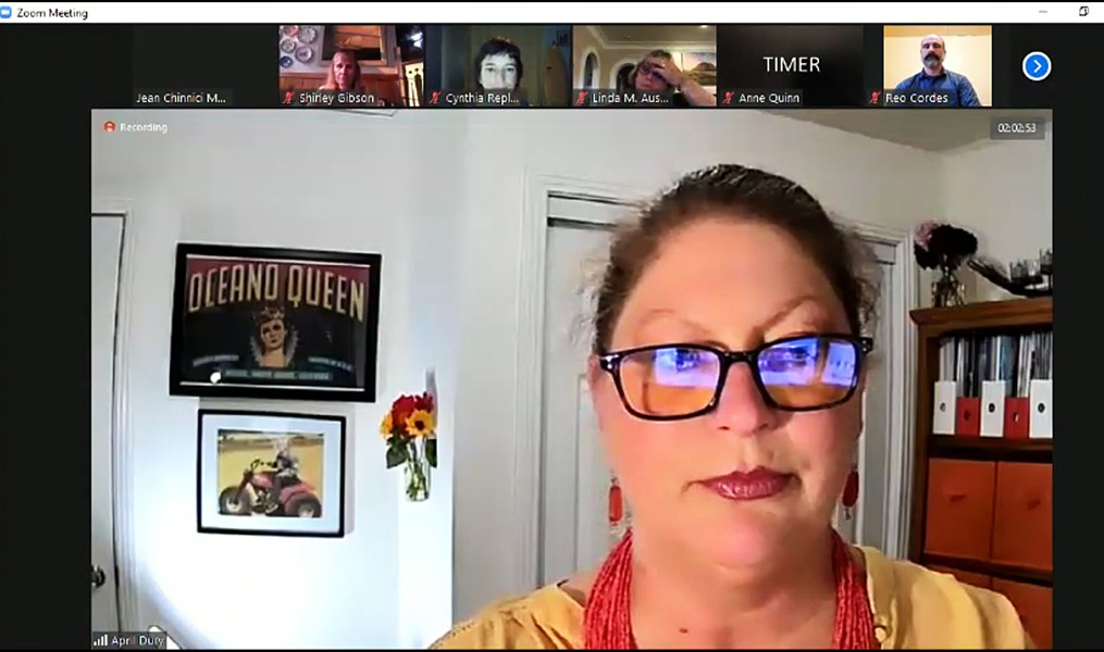 TALKING ISSUES OCSD candidate April Dury introduces herself at a League of Women Voters candidate forum on Oct. 1. - SCREENSHOT FROM SLO SPAN