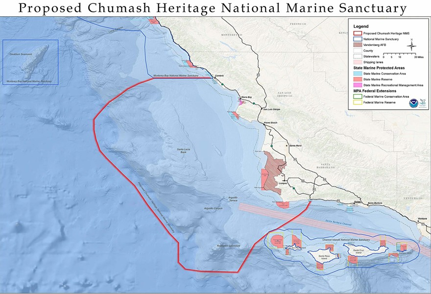 STILL ALIVE The National Oceanic and Atmospheric Administration decided to renew its nomination of the Chumash Heritage National Marine Sanctuary (pictured) for five more years. - MAP COURTESY OF NOAA