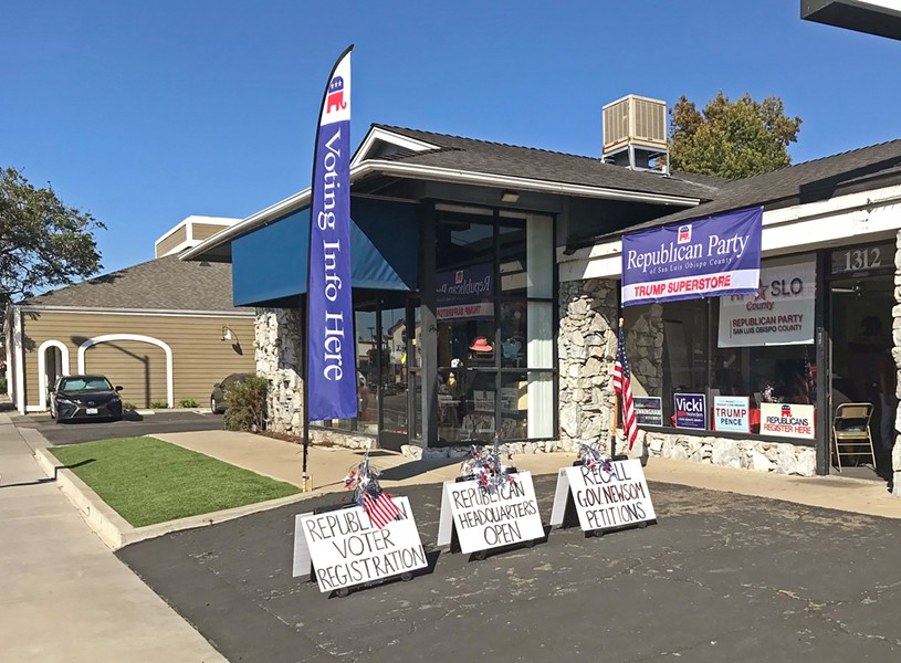ON VOTERS' BEHALF The Republican Party of SLO County has promoted its offices in Arroyo Grande (pictured) and Atascadero as voter ballot drop-off locations, raising questions about whether they comply with election law. - PHOTO BY PETER JOHNSON