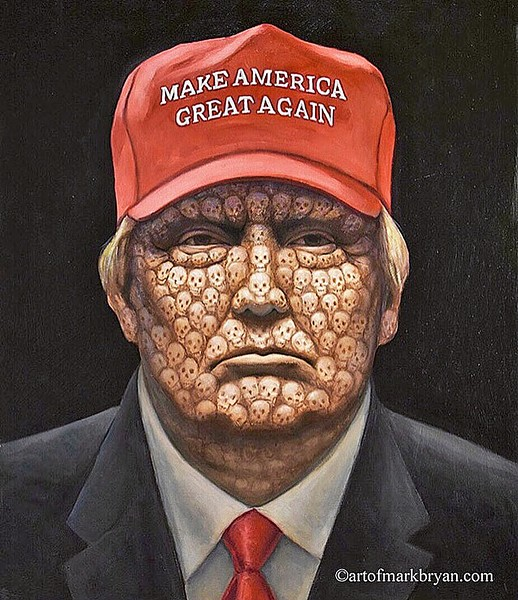 MARK BRYAN The blame for American COVID-19 deaths is laid squarely on President Trump, in 200,000. - COURTESY IMAGE BY MARK BRYAN