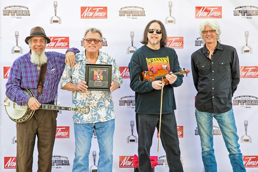 """BEST SONGWRITER Irascible Don Lampson (second from left)—with band members (left to right) BanjerDan Mazer, Eric Brittain, and Charlie Kleeman—won Best Songwriter for the narrative insta-classic """"Bakersfield Girl."""" - PHOTO BY JAYSON MELLOM"""