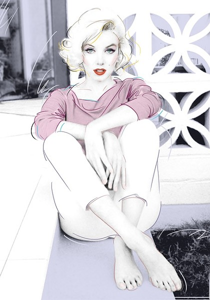 MARILYN:  Dennis Mukai collaborated with photographer George Barris, using images from Marilyn Monroe's last photo shoot before she died. - IMAGE ©2014 DENNIS MUKAI. ALL RIGHTS RESERVED.