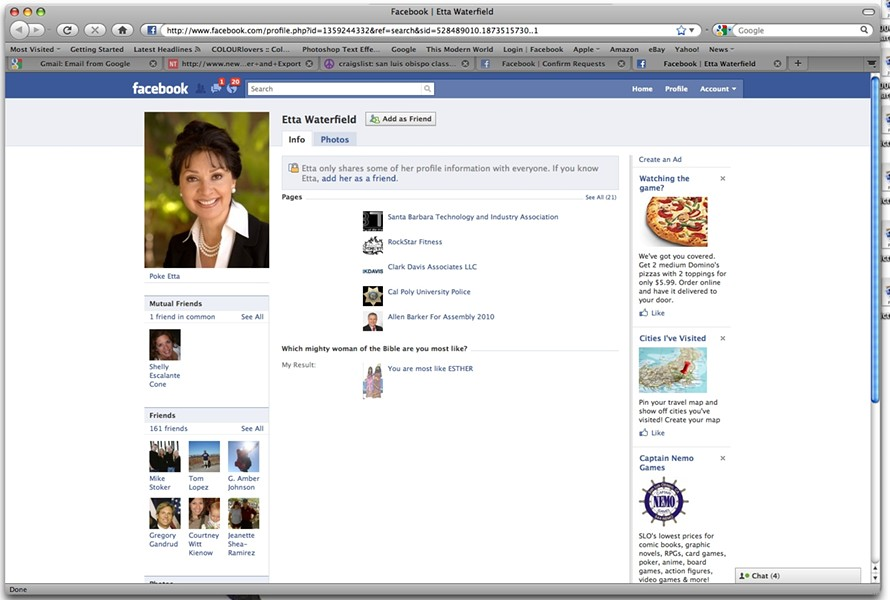 BEST FACE FORWARD:  Candidates are increasingly creating Facebook pages to connect with constituents and provide a little more insight into their positions on the issues. Some candidates also use Twitter to post short updates about fundraising events or endorsements. Those candidates using social media say they've connected with the community in a way they couldn't otherwise. - SCREEN SHOT FROM INTERNET