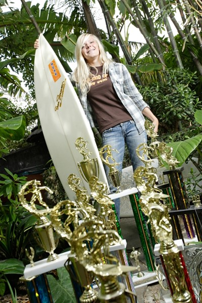 SHE'S KIND OF A BIG DEAL :  SLO High School junior Keenan Reeser, 17, recently won the Western Surfing Association's Open Women's Championship. - PHOTO BY STEVE E. MILLER