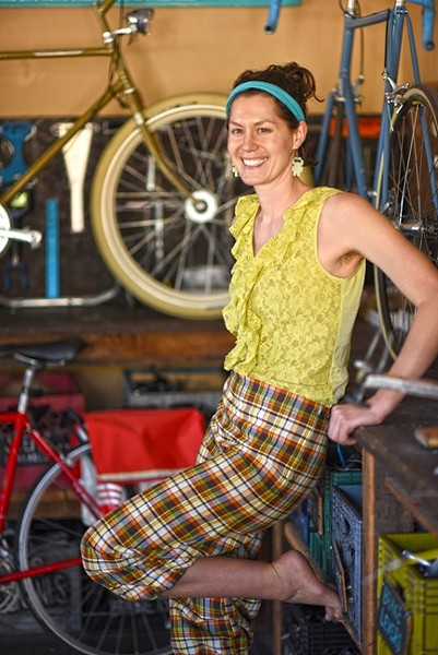 COMMUTER CHIC:  Organizer Kylie Mendonca shows off her handmade threads, which will be featured alongside some 45 designs crafted by local members of the community. - PHOTO COURTESY OF SLO BIKE COALITION