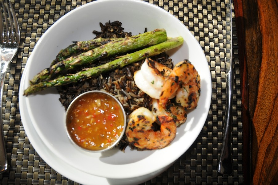 LOOKIN' GOOD:  The prawn rice bowl with sauteed jumbo prawns and grilled asparagus over wild rice. - PHOTO BY DAN HARDESTY