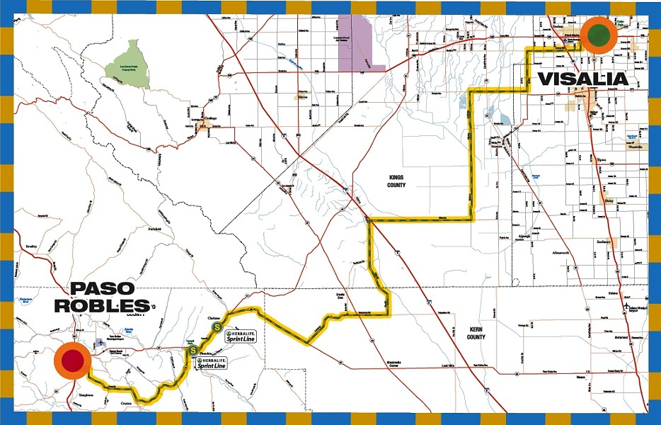 NEW ROUTE :  Race officials describe the stage route into Paso from Visalia as fast but largely unprotected from potential winds. - GRAPHIC COURTESY OF THE AMGEN TOUR OF CALIFORNIA