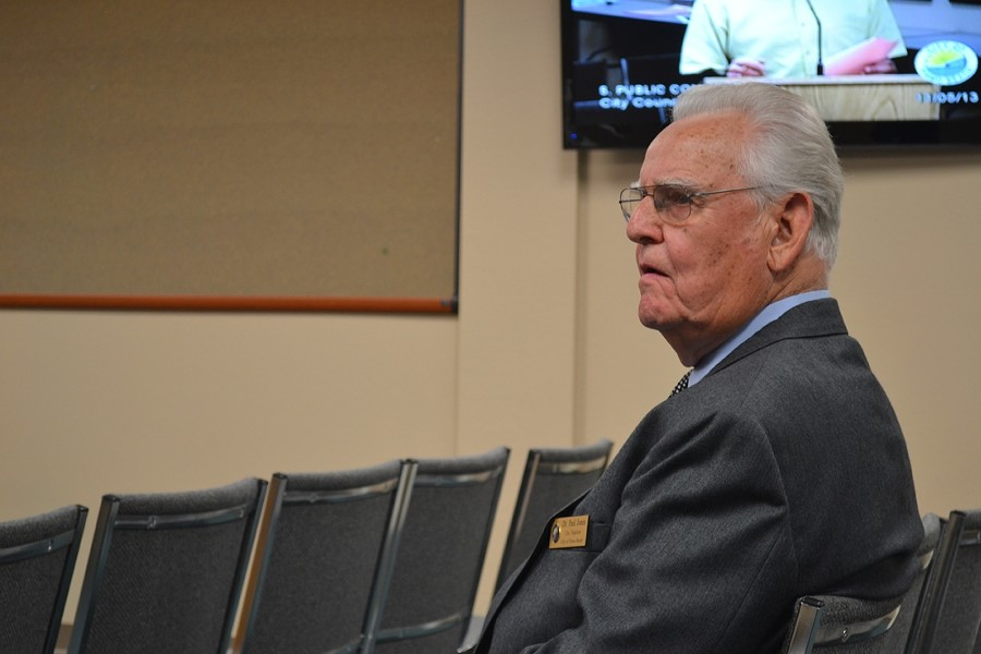 A CHAPLAIN CHALLENGED:  Pismo Beach City Chaplain Dr. Paul Jones, pictured here at the Nov. 5 city council meeting, is one of the targets of a recently filed 252-page lawsuit that challenges the city's prayer practices at government meetings. - PHOTO BY RHYS HEYDEN