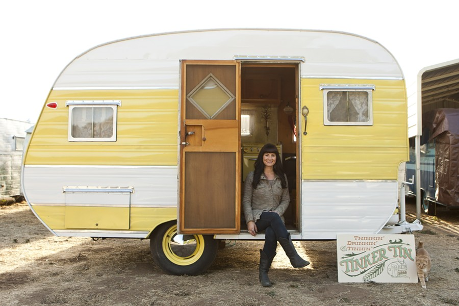 MELLOW YELLOW:  Jaime Holm's vintage trailers offer some color and personality to just about any event, from camping to a wedding. - PHOTO BY STEVE E. MILLER