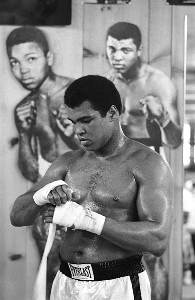 MUHAMMAD ALI IN TRAINING, 1975: - PHOTO COURTESY OF SANTI VISALLI