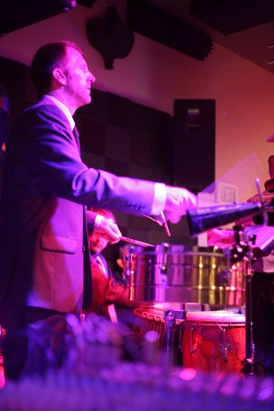 HE'S GOT THE BEAT :  De La Bahia percussionist Mike Raynor and the rest of the band bring sultry Latin salsa music to Steynberg Gallery on June 18. - PHOTO BY GLEN STARKEY