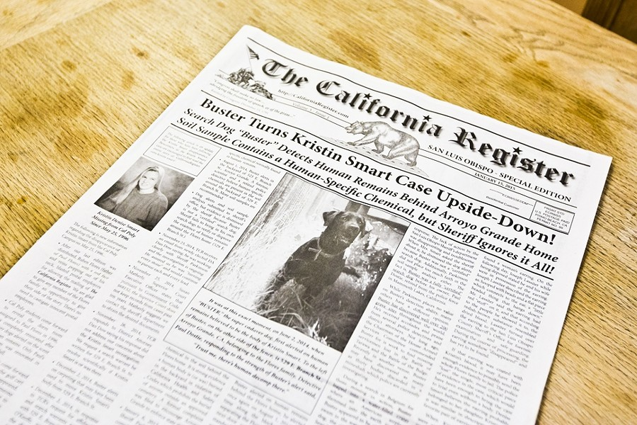 REGISTERING THIS:  The fourth issue of 'The California Register,' which boasts some strong claims about new information in the investigation into the disappearance of Kristin Smart, was delivered to San Luis Obispo residents in January. - PHOTO BY KAORI FUNAHASHI