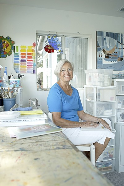 WATERCOLOR QUEEN :  Pat Cairns, member of seven watercolor societies, prepares for the weekend's Open Studios tour. - PHOTO BY STEVE E. MILLER