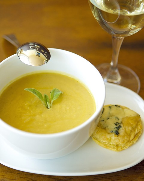A TASTE OF AUTUMN :  Pumpkin soup is one of several dishes now being served at Gather Wine Bar in the village of Arroyo Grande. - PHOTO BY STEVE E. MILLER